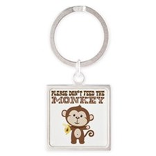 Please Dont Feed Monkey Square Keychain