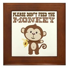 Please Dont Feed Monkey Framed Tile