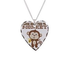Please Dont Feed Monkey Necklace Heart Charm
