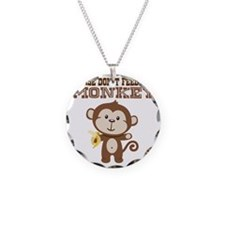 Please Dont Feed Monkey Necklace Circle Charm