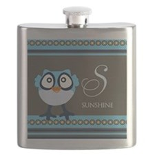 Custom Name Blue Owl Flask