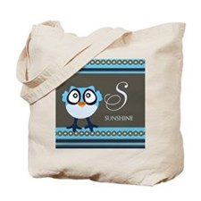 Custom Name Blue Owl Tote Bag