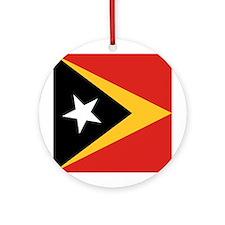 Timor-Leste Flag Ornament (Round)
