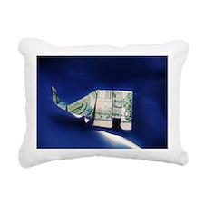 Dollar bill origami Elep Rectangular Canvas Pillow