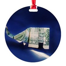 Dollar bill origami Elephant on blu Ornament