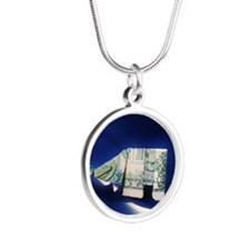Dollar bill origami Elephant Silver Round Necklace