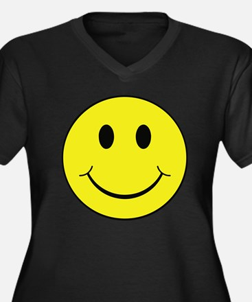 Smiley Face Women's Plus Size V-Neck Dark T-Shirt