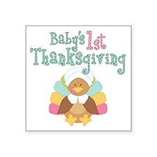 "1st Thanksgiving Square Sticker 3"" x 3"""