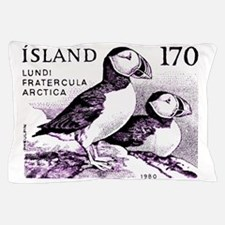 1980 Iceland Atlantic Puffins Postage  Pillow Case