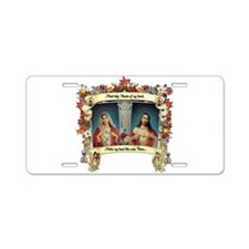 Sacred and Immaculate Hearts Aluminum License Plat