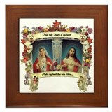 Tiled twin hearts of mary and jesus Framed Tiles