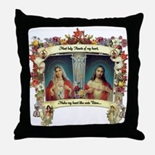 Sacred and Immaculate Hearts Throw Pillow
