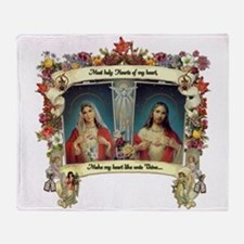 Sacred and Immaculate Hearts Throw Blanket