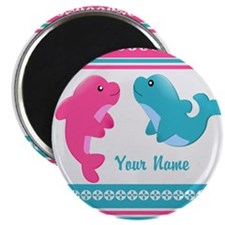 "Cute Dolphin - Personalized 2.25"" Magnet (100 pack"