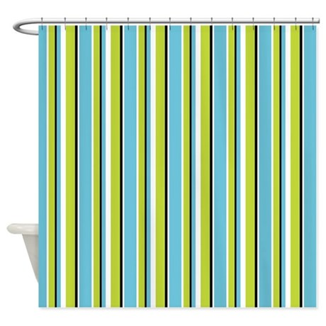 Fun Stripes Thin Blue Green Shower Curtain By Floatinglemons