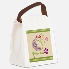 Personalized Elegant Peacock Canvas Lunch Bag