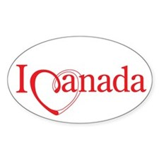 I Heart Canada Oval Bumper Stickers