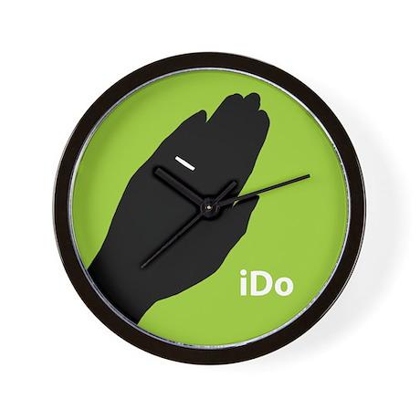 """I Do"" Wedding Ring Green Wall Clock"