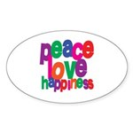 Peace, Love, Happiness Oval Sticker