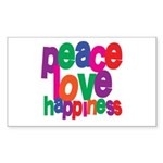 Peace, Love, Happiness Rectangle Sticker