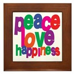 Peace, Love, Happiness Framed Tile