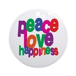 Peace, Love, Happiness Ornament (Round)