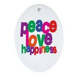 Peace, Love, Happiness Oval Ornament