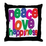 Peace, Love, Happiness Throw Pillow