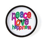 Peace, Love, Happiness Wall Clock