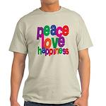 Peace, Love, Happiness Light T-Shirt