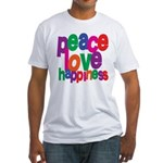 Peace, Love, Happiness Fitted T-Shirt