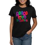 Peace, Love, Happiness Women's Dark T-Shirt
