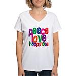Peace, Love, Happiness Women's V-Neck T-Shirt