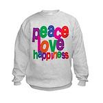 Peace, Love, Happiness Kids Sweatshirt