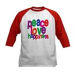 Peace, Love, Happiness Kids Baseball Jersey