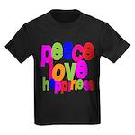 Peace, Love, Happiness Kids Dark T-Shirt