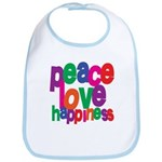 Peace, Love, Happiness Bib