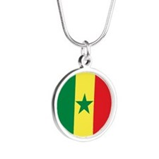 Senegal Flag Silver Round Necklace