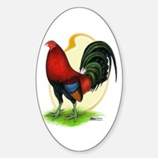 Red Gamecock3 Oval Decal