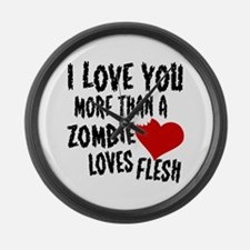 Zombie Love Large Wall Clock