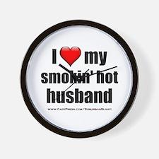 """""""Love My Smokin' Hot Husband"""" Wall Clock"""