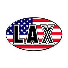 Lacrosse_Flag_America_Large. Oval Car Magnet