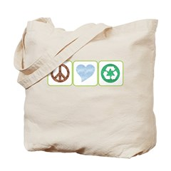 Peace, Love, Recycling Tote Bag