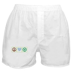 Peace, Love, Recycling Boxer Shorts