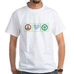 Peace, Love, Recycling White T-Shirt