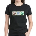 Peace, Love, Recycling Women's Dark T-Shirt
