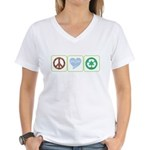Peace, Love, Recycling Women's V-Neck T-Shirt