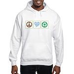 Peace, Love, Recycling Hooded Sweatshirt