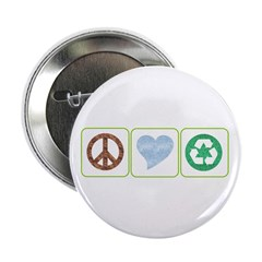 "Peace, Love, Recycling 2.25"" Button (100 pack)"