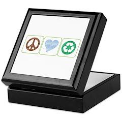 Peace, Love, Recycling Keepsake Box